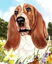 Outdoor Small Flag Basset Hound Dog Summer Flowers Garden Flag