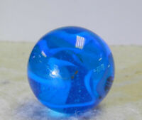 #12517m Vintage Blue Glass Gladding Vitro Shooter Marble .87 Inches