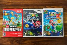 Nintendo Wii Super Mario Bros + Galaxy 1 2 TRILOGY COMPLETE NEW Disc Manual Case