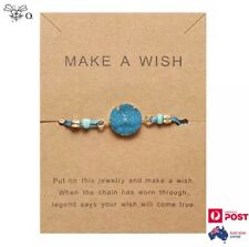 Make A Wish Natural Blue Agate Crystal Stone Bracelet Adjustable Bangle Jewelry