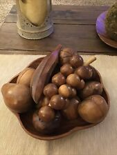 Vintage Carved Wood 13 Pieces Fruit and Bowl Mid Century-Bowl Marked Philippines