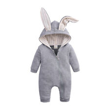 Newborn Baby Outfits Hoodie Bunny Ear Romper Jumpsuits Toddler Rabbit Bodysuit