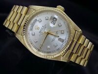 Men Rolex Day-Date President Solid 18KT 18k Gold Watch Silver Diamond Dial 18038