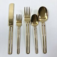 48pcs Oxford Hall Golden Gap Flatware Rare Gold Electroplate Stainless Steel