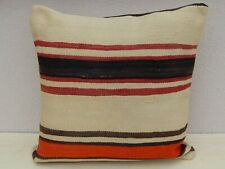 24x24 inch Unique Turkish Boho Kilim Pillow Cover, Vintage Anatolian Home Decor