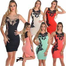 Damen Mini Etui Kleid Minikleid Etuikleid Stickerei Hochzeit Party S 32 34 36