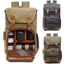 Large Waterproof Canvas Travel Bag SLR DSLR Camera Lens Padded Backpack Rucksack
