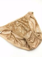 GOLD VTG 1980s STYLE SHEER 100% NYLON LACE LEG WIDE GUSSET PANTIES LACY LACE XL