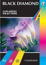 20 Sheets Black Diamond A4 Gloss Adhesive Inkjet Printer 135gsm Labels - 1/SHEET