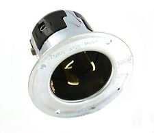 Leviton 7958 50 Amp, 250 Volt Dc/600 Volt Ac, Black And White Locking Flanged I