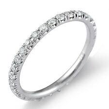0.75Ct Bridal Round F-G Natural Diamond Eternity Wedding Band Ring 950 PLATINUM