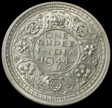 1944 SILVER INDIA ONE RUPEE KING GEORGE VI KING BRITISH COIN BOMBAY MINT