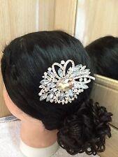 Stunning Crystal BridalWedding Prom Party Diamante Hair Comb  SiLVER Design G
