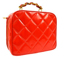 CHANEL Quilted CC Chain Shoulder Bag Purse Red Patent Leather 3350344 AK34117f