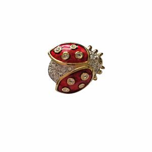 "Swarovski Crystal Ladybug Pin Brooch Red Enamel Gold Tone Pin 1"" x 3/4"""