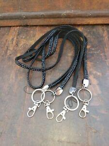 "Lot of 4 Black Rhinestone Bling Lanyard ID Badge Key Holder EUC 28"""