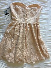 Aritzia TALULA Women's Wov Lace SL Petale Size 4 Dress Strapless Tube Peach