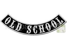 Aufnäher Biker Patch, OLD SCHOOL, Bogen unten 35cm gestickt, Bottom Rocker, MC