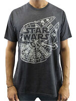 Star Wars Millennium Falcon Plans Charcoal Heather Men's T-Shirt New