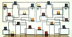 PAIR OF BLACK GEOMETRIC METAL CANDLE HOLDER WALL SCONCES With Candles