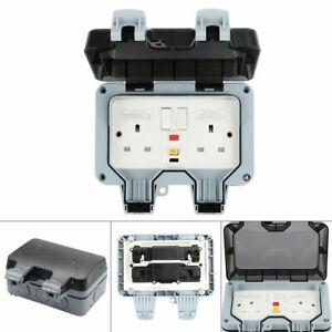Outdoor Mains Sockets Power & RCD Protected Plug Weatherproof Double Switched
