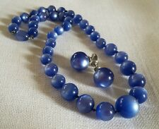 Vintage blue moonglow necklace and earrings demi signed Richelieu Sterling