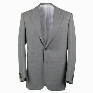 Kiton Slim-Fit Black and White Patterned Two Button Wool Suit 40R (Eu 50)