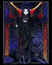 Gothic Angel Guardian Celestial Eclipse Wolf Rayvnwolf CANVAS Print Signed