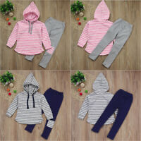 2pcs Toddler Baby Boys Girls Clothes Set Striped Hoodie Tops+Long Pants Outfits