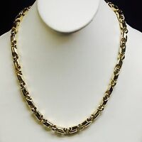 "10kt Yellow Gold handmade Link men's Chain Necklace 20"" 8 MM  105 grams"