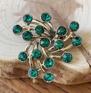 Vintage Green Rhinestone Brooch Pin (#284)