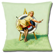 Gil Elvgren Pinup Lady Cushion Cover 16x16 inch 40cm Vintage Archery Practise