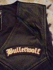 Bulletwolf Metal Black Leather Biker Vest Waistcoat Double Shots Of Rock 'n Roll