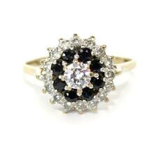 Vintage 9ct Gold, Sapphire & CZ Cluster Ring, Size L, Perfect Condition, Boxed