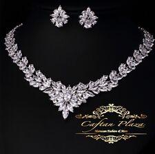 2 Tlg. Zirkonia AAA+ Schmuckset Halskette Ohrringe Brautschmuck Silber Weiss
