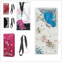 Bling Diamond Card Wallet With Starp PU Leather Flip Stand Case Cover For Phones