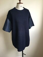 Miu Miu Navy Wool Mohair And Lambskin Leather Oversize Jumper 38