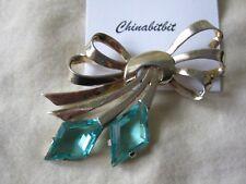 Vintage Marcel Boucher sterling silver bow pin brooch blue rhinestones