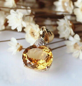 3.00 Ct Oval Cut Yellow Citrine Luxurious Pendant 14k Yellow Gold Over Women's