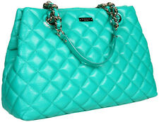 KATE SPADE QUILTED GOLD COAST LEATHER HANDBAG VERNA EMERALD GREEN MARYANNE LARGE