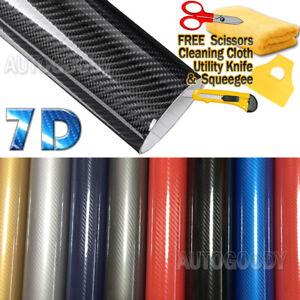 7D Premium Super Gloss Carbon Fiber Vinyl Film Wrap Bubble Free Air Release 6D