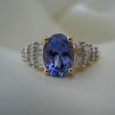 1.00ct AA Tanzanite & Baguette Diamond Yellow Gold Engagement Ring
