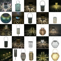 Outdoor Solar LED Lantern Hanging Light Pillar Yard Patio Lighting Garden Lamp