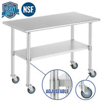 "Food Prep Work Table for Kitchen Restaurant w/ 4 Wheels 24""x48"" Stainless Steel"