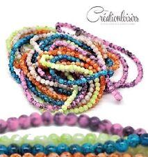 50 perles howlite en verre multicolore diamètre 4 mm - Couleur à effet tachetée