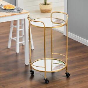 Glass Bar Cart Rolling Serving Drinks Trolley Wine Tea Storage Rack Serving Cart