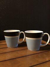 Jonathan Adler Palm Beach Basics Coffee Mugs - Pair - Blue And Brown