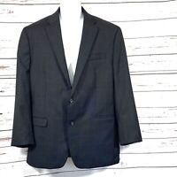 Ralph Lauren Men's Blazer 100% Wool 2 Buttons Dark Gray/Blue Plaid Size 44L