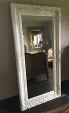 ANTIQUE WHITE CREAM ORNATE FRENCH SHABBY CHIC ROCOCO WOOD WALL MIRROR 6x3FT