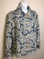 COLDWATER CREEK Women's Plus Sz.1X Jacket Cotton Navy/Cream Tropical Print- EUC!